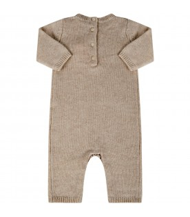 Beige babygrow for babygirl with cherries