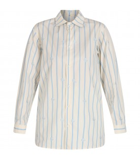 Ivory and light blue shirt with double GG for boy