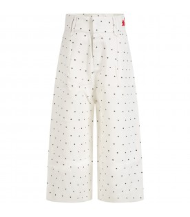 Ivory trousers for girl with logo