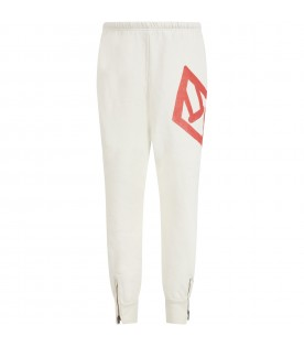 Ivory sweatpant for kids with logo