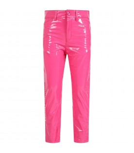 Fuchsia trousers for girl with logo