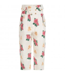 Ivory pants for girl with flowers