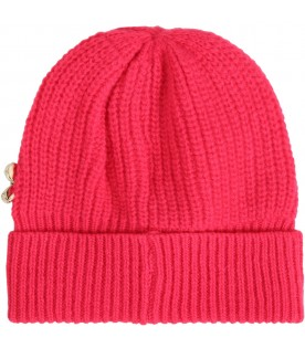 Fuchsia hat for girl with logo