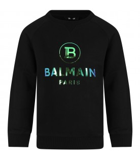 Black sweatshirt with double logo for kids
