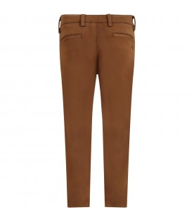 Brown pants for boy with logo