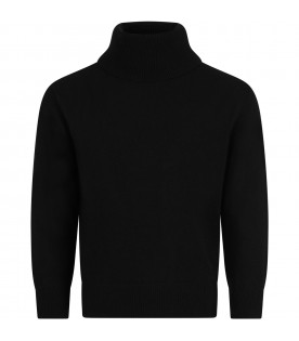 Black turtleneck for kids with logo