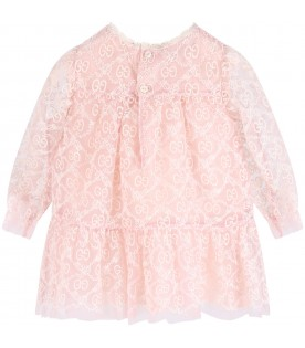 Pink dress with double GG for baby girl