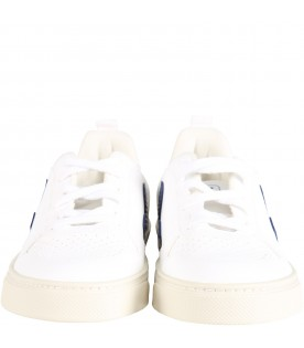 White sneakers with blue logo for kids