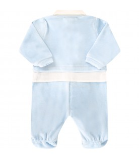 Light blue babygrow for babyboy with logo