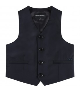 Blue vest for boy with logo