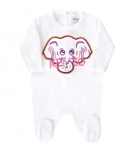 White babygrow for baby girl with logo