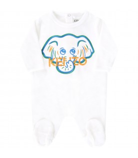 White babygrow for baby boy with logo