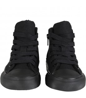 Black shoes for kids with logo