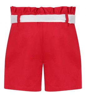 Red short for girl with logo