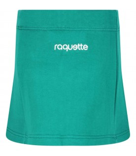 Green skirt for girl with logo