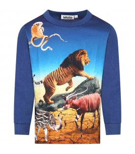 Blue T-shirt for boy with animals