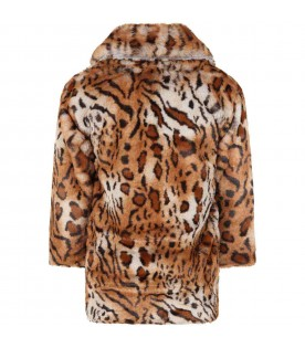 Multicolor faux-fur for girl with animalier print