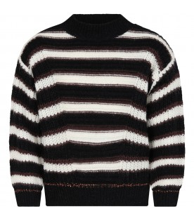 Black sweater for girl with stripes