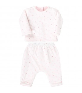 Pink suit for babykids with flowers
