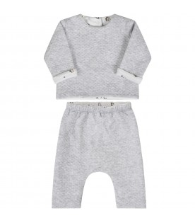 Grey suit for babykids with penguins