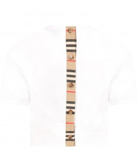 White T-shirt for kids with iconic stripes