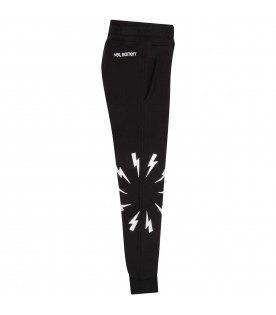 Black sweatpants for boy with thunders