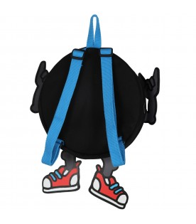 Black backpack for kids with monster