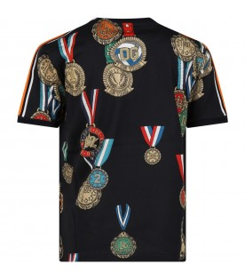 Blue T-shirt for boy with medals