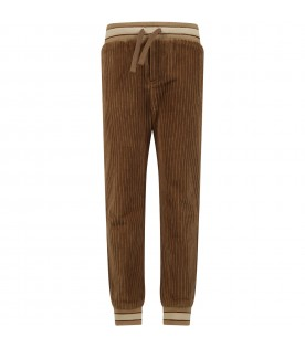 Beige pants for boy with logo