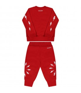 Red tracksuit for babyboywith logo