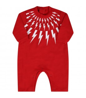 Red suit for babyboy with white thunders