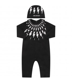 Black suit for babyboy with white thundres