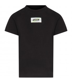 Black T-shirt for boy with patch