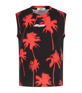 Black tank top for boy with red plam trees