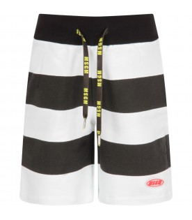 White and black short for boy with logo