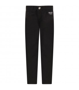 Black jeans for boy with grey logo