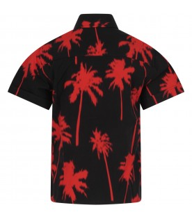 Black shirt for boy with palm trees