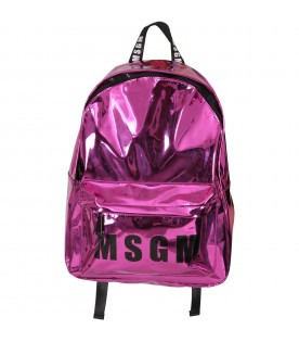 Purple backpack for girl with logo