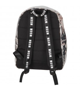 Silver backpack for girl with logo