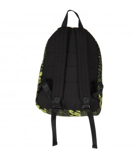 Black backpack for boy with logos