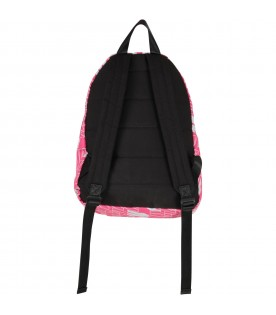 Fuchsia backpack for girl with logos