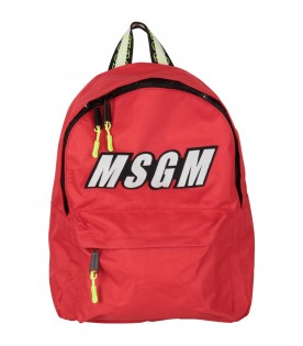 Red backpack for kids with logo