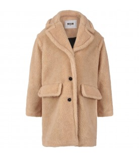 Beige coat for girl with logo