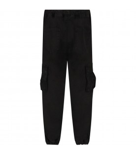 Black cargo pants for boy with logo