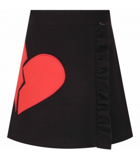 Black skirt for girl with red heart
