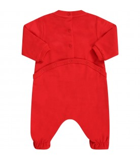 Red babygrow with teddy bear for babykids