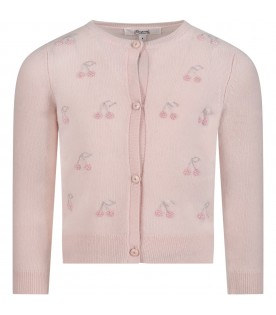 Pink cardigan for girl with cherries