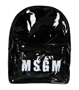 Black backpack for girl with logo
