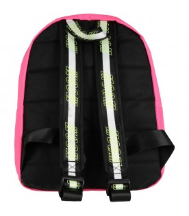 Neon fuchsia backpack for girl with logo