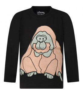 Black T-shirt for kids with chimpanzee
